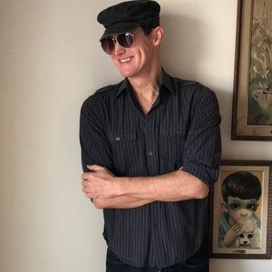 Men's Shirt Black, Dark Gray, Stripes & Epaulets